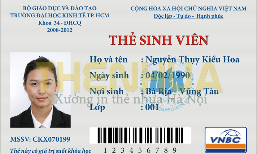 thẻ sinh viên có mã vạch
