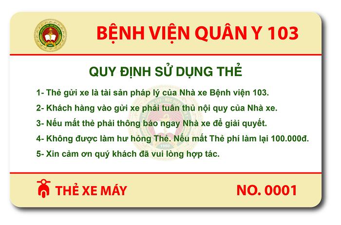 Mẫu thẻ xe của viện 103